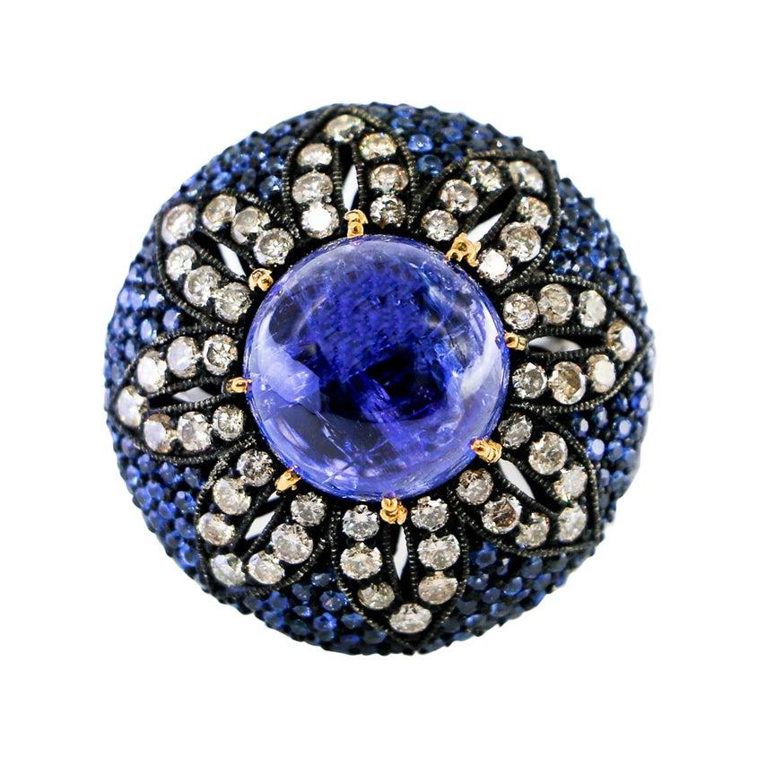 Tanzanite Sapphire and Diamond Ring