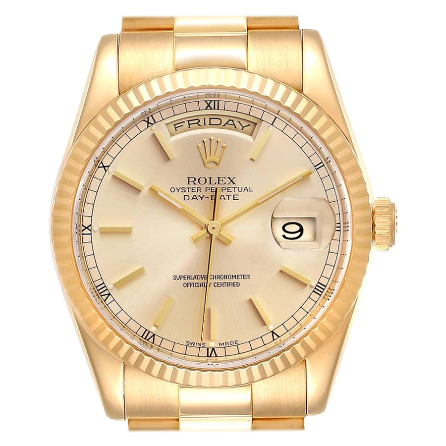 Rolex President Day Date Yellow Gold Mens Watch 118238