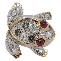 18kt Yellow & White Gold Frog Brooch Set with Diamonds & Rubies