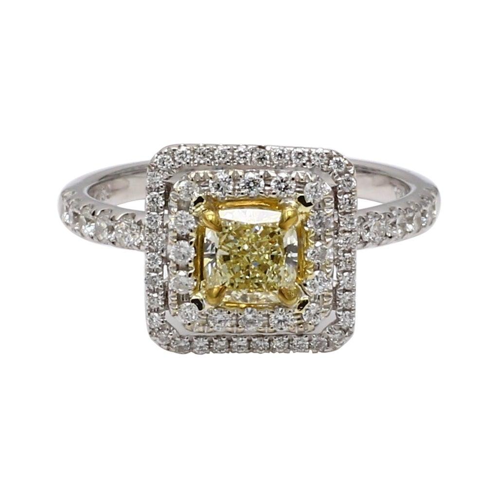 Natural Yellow Cushion Cut & White Diamond 1.36 Carat Ring 18k Gold