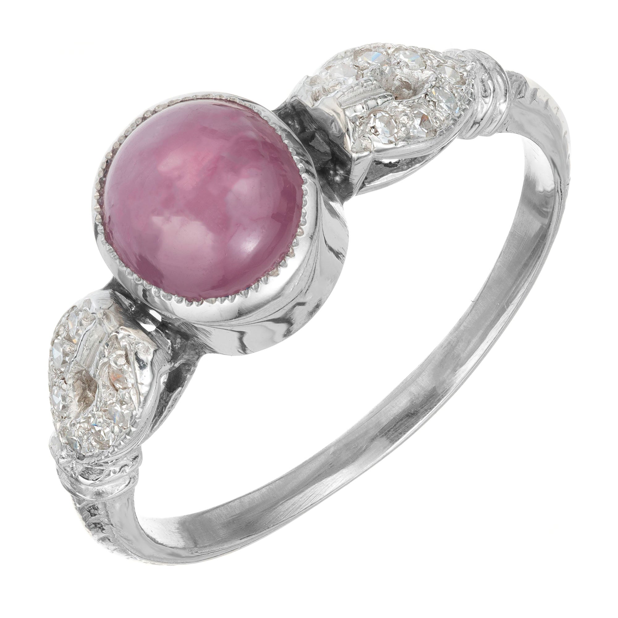 GIA Certified 2.61 Carat Star Ruby Diamond Platinum Art Deco Engagement Ring