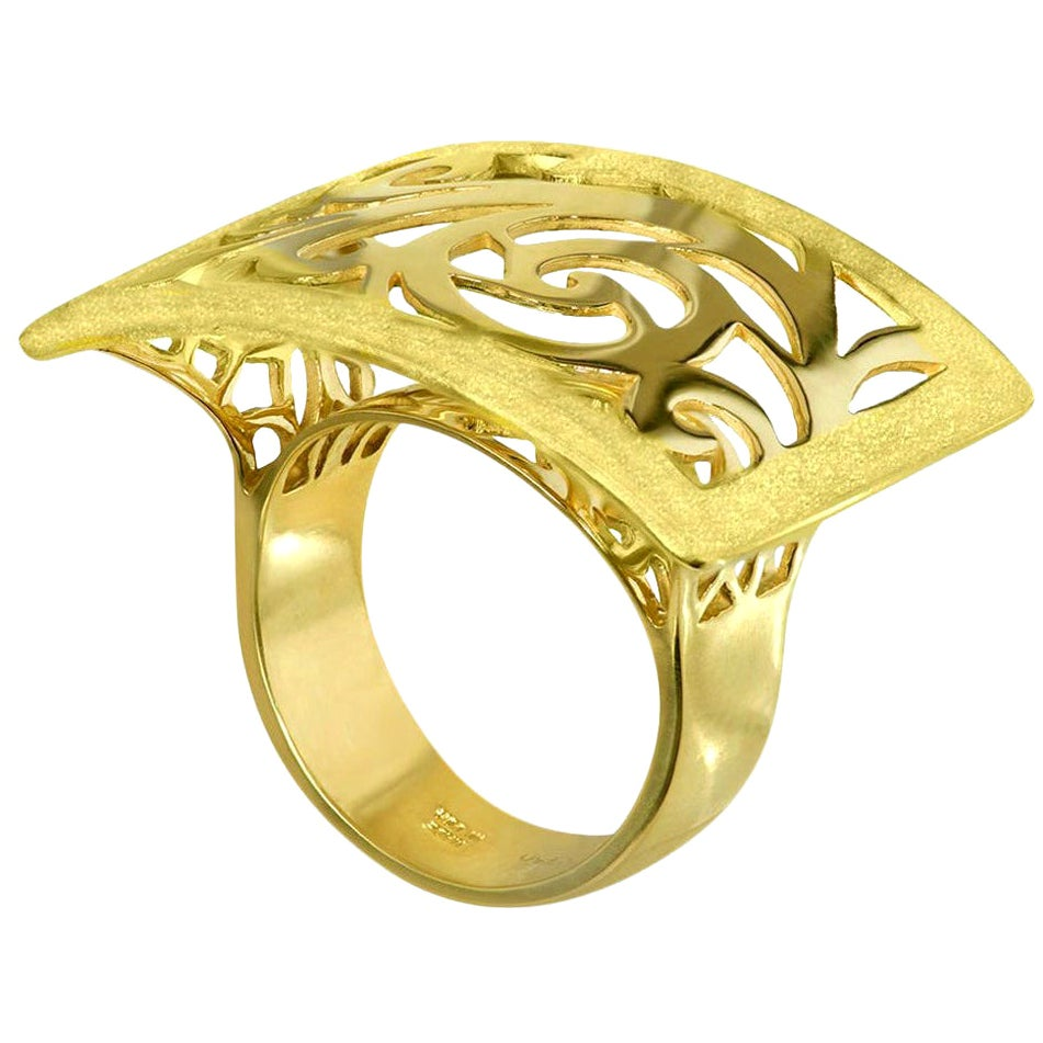 Alex Soldier 18 Karat Gold Ornament Contrast Texture Ring