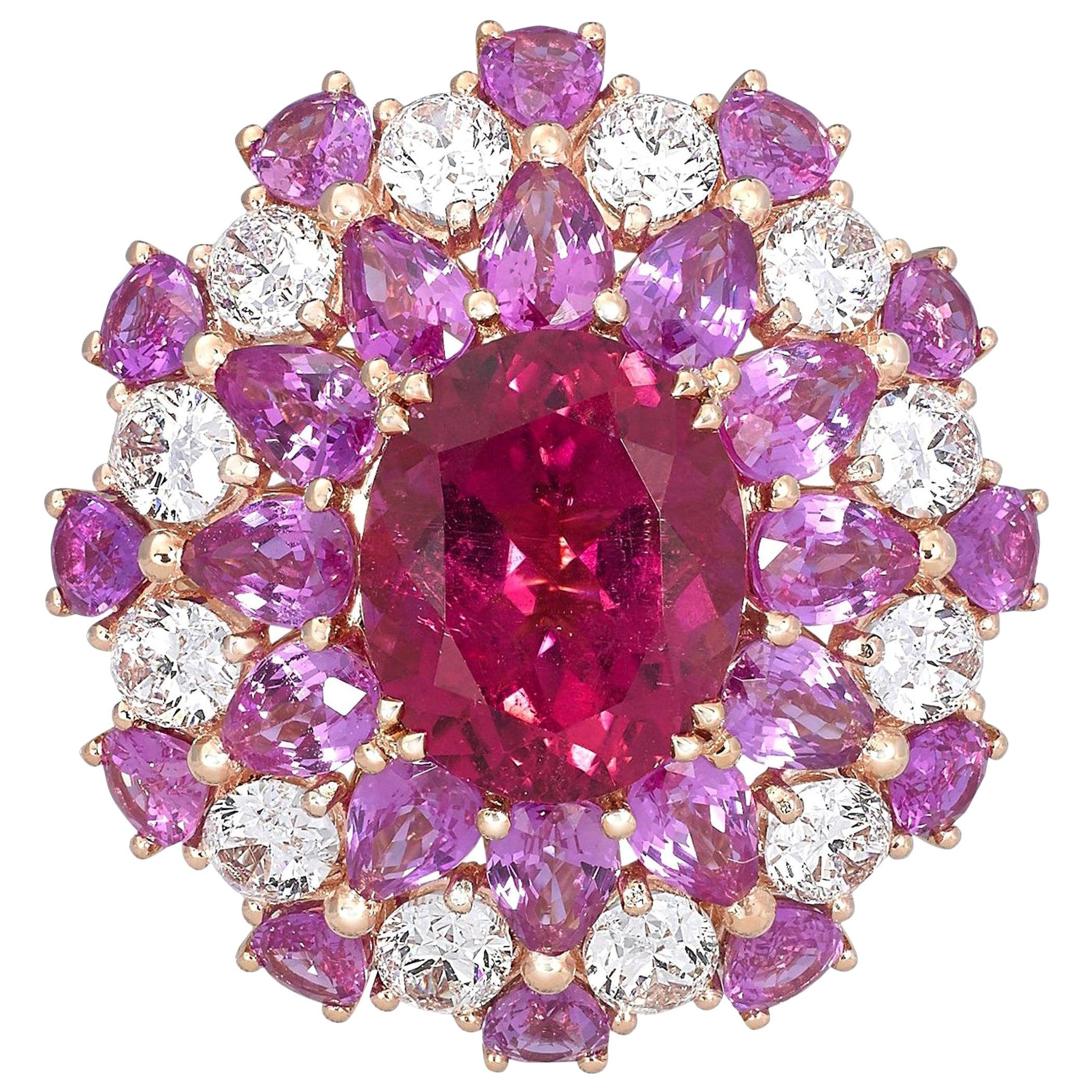 18 Karat Rose Gold, White Diamonds and Rubellite Ballerina Cocktail Ring