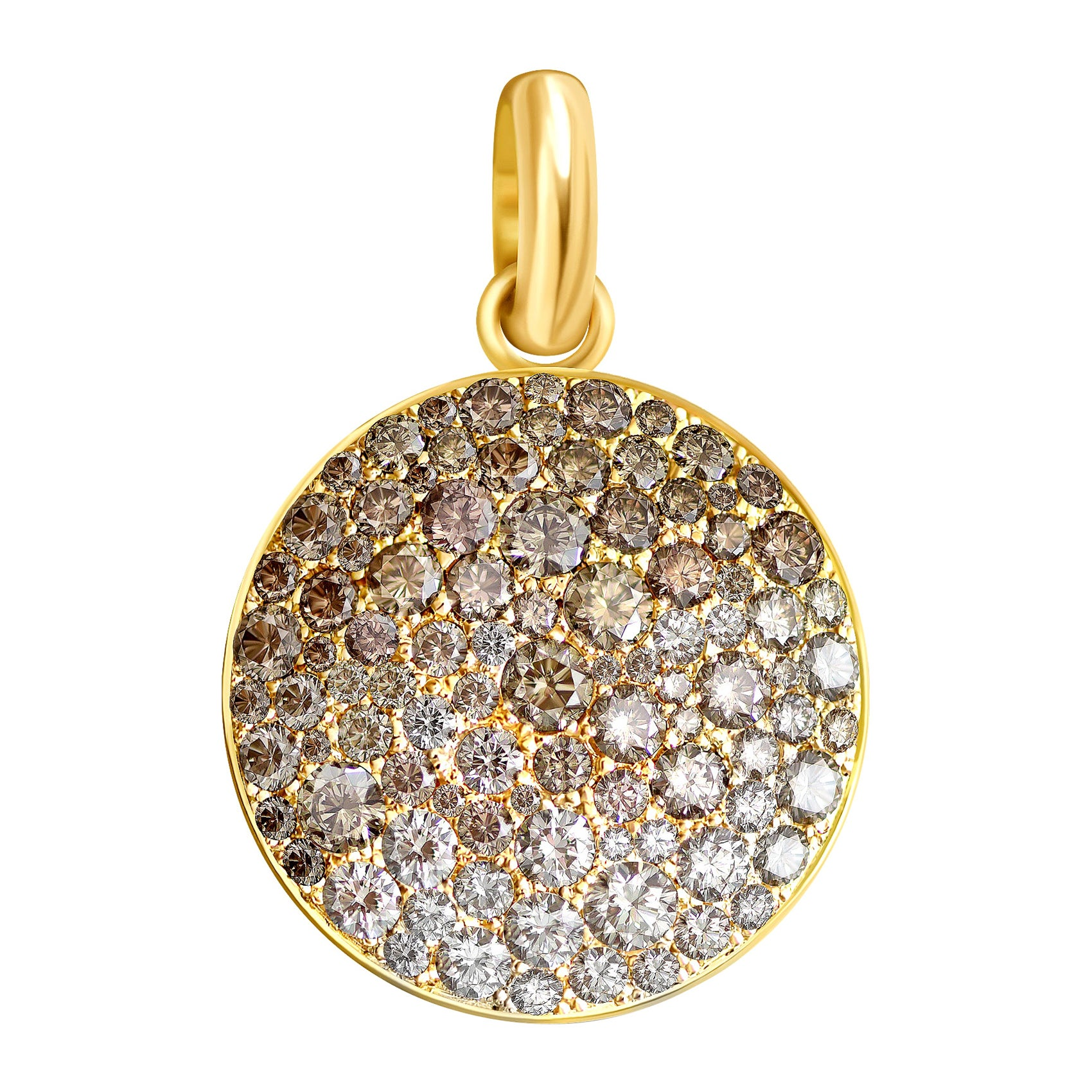 4 Carat Champagne and White Diamonds pave 14 Karat Yellow Gold Pendant