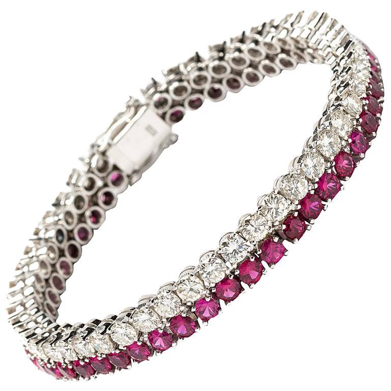 1960s Ruby Diamond Gold Tennis Bracelet For Sale At 1stdibs