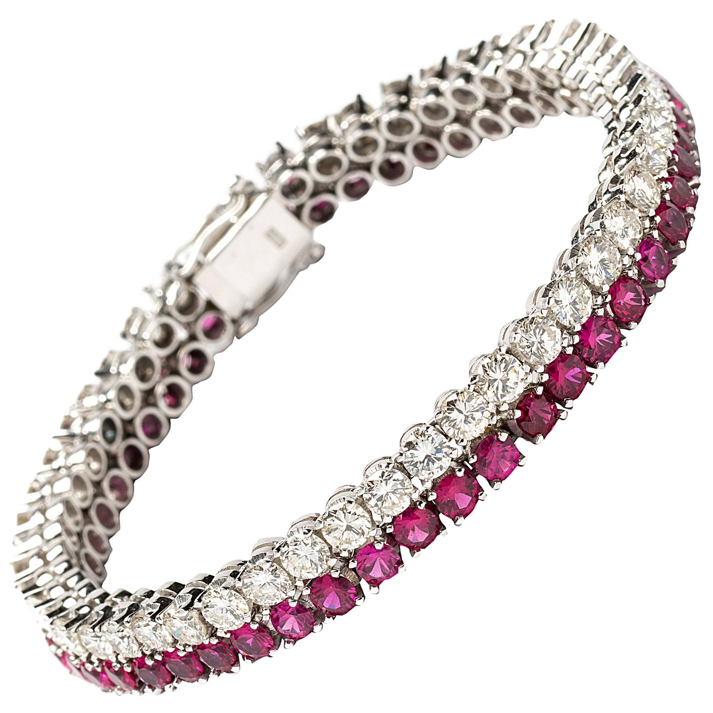 1960s Ruby Diamond Gold Tennis Bracelet