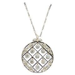 Tiffany & Co. Edwardian 2 Carat Old Mine Diamond Platinum Pendant Necklace, 1900