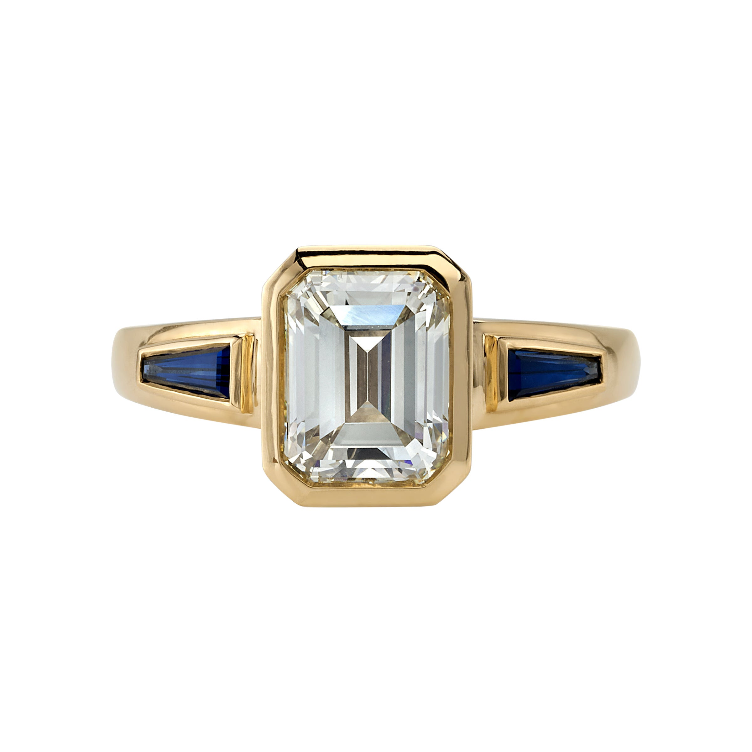 2.09 Carat Emerald Cut Diamond Set in a Handcrafted Yellow Gold Engagement Ring