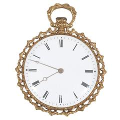 Swiss yellow Gold Enamel Key Wound Open Face Pocket Watch