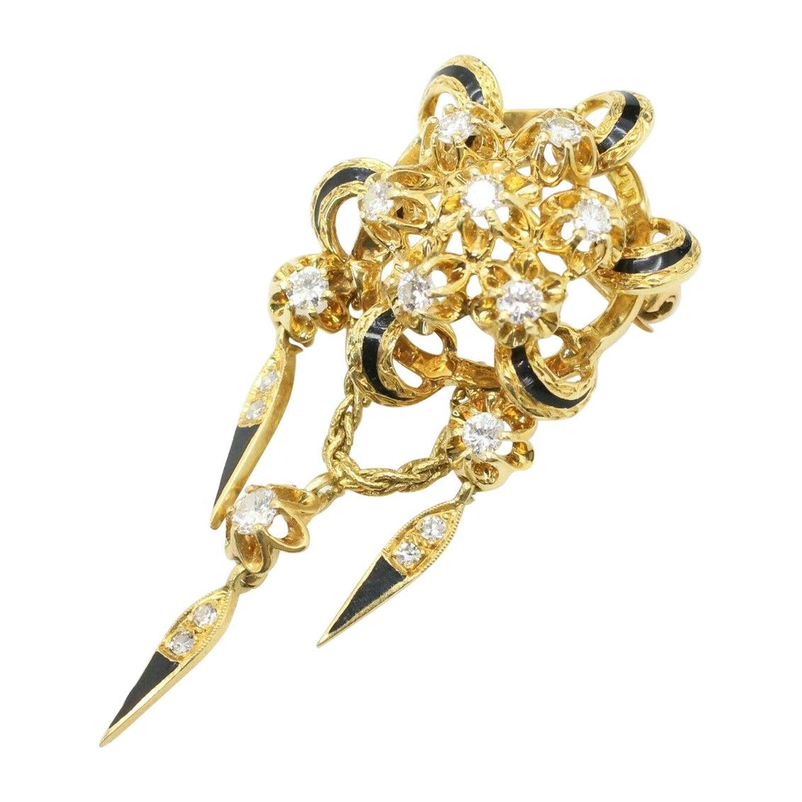 18k Yellow Gold Diamond Brooch with Enamel