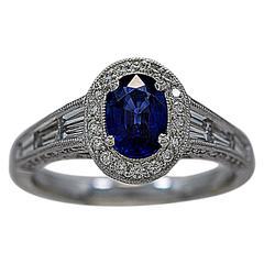 1.00 Carat Sapphire Diamond Gold Fashion Engagement Ring