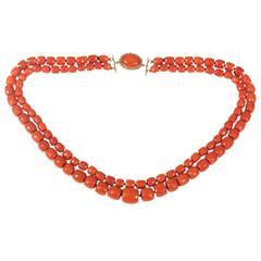 Two Row Retro Coral Bead Necklace