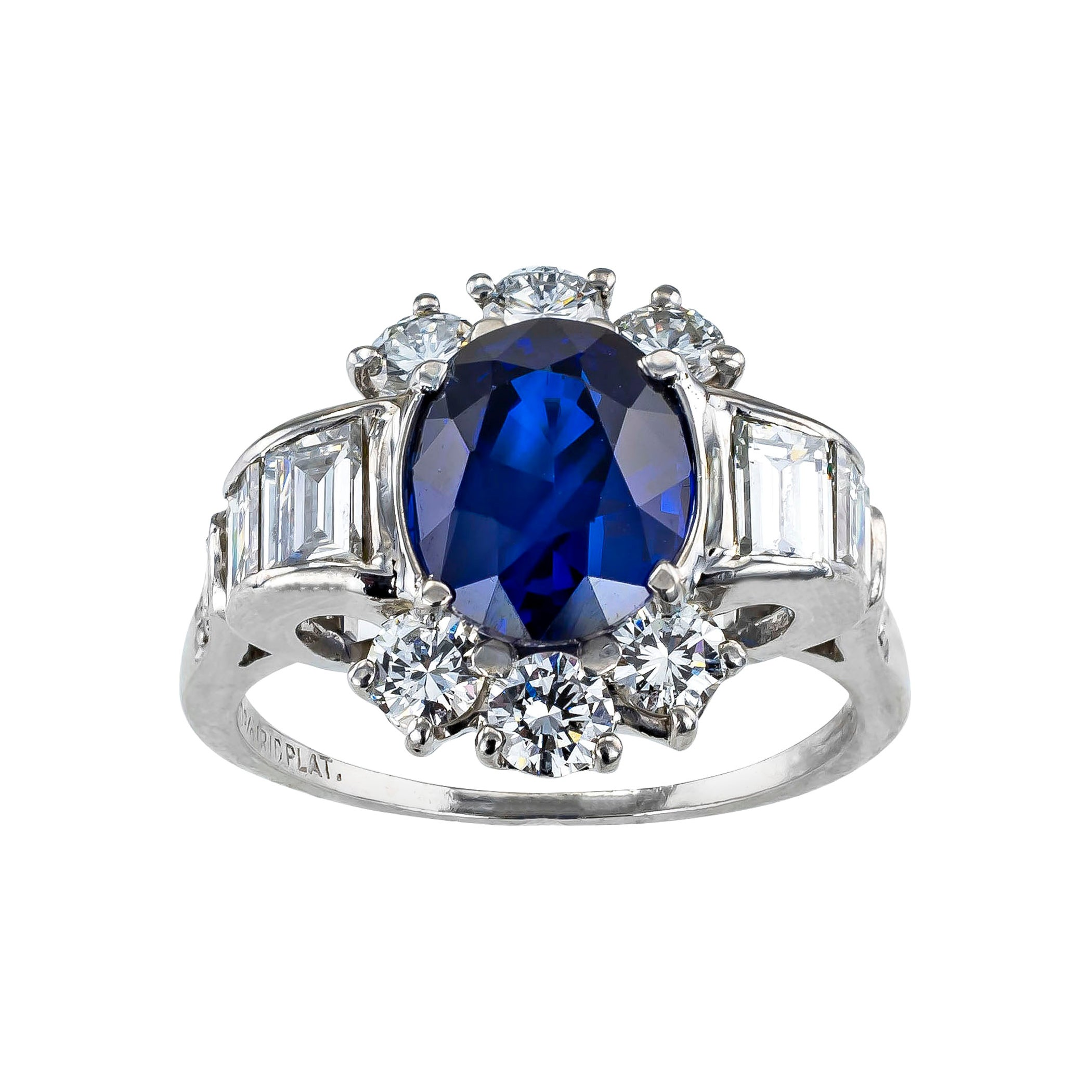 Royal Blue Sapphire Diamond Platinum Ring