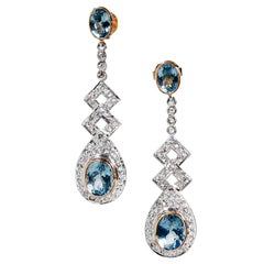 6.19 Carat Aquamarine Diamond Silver Gold Dangle Drop Earrings