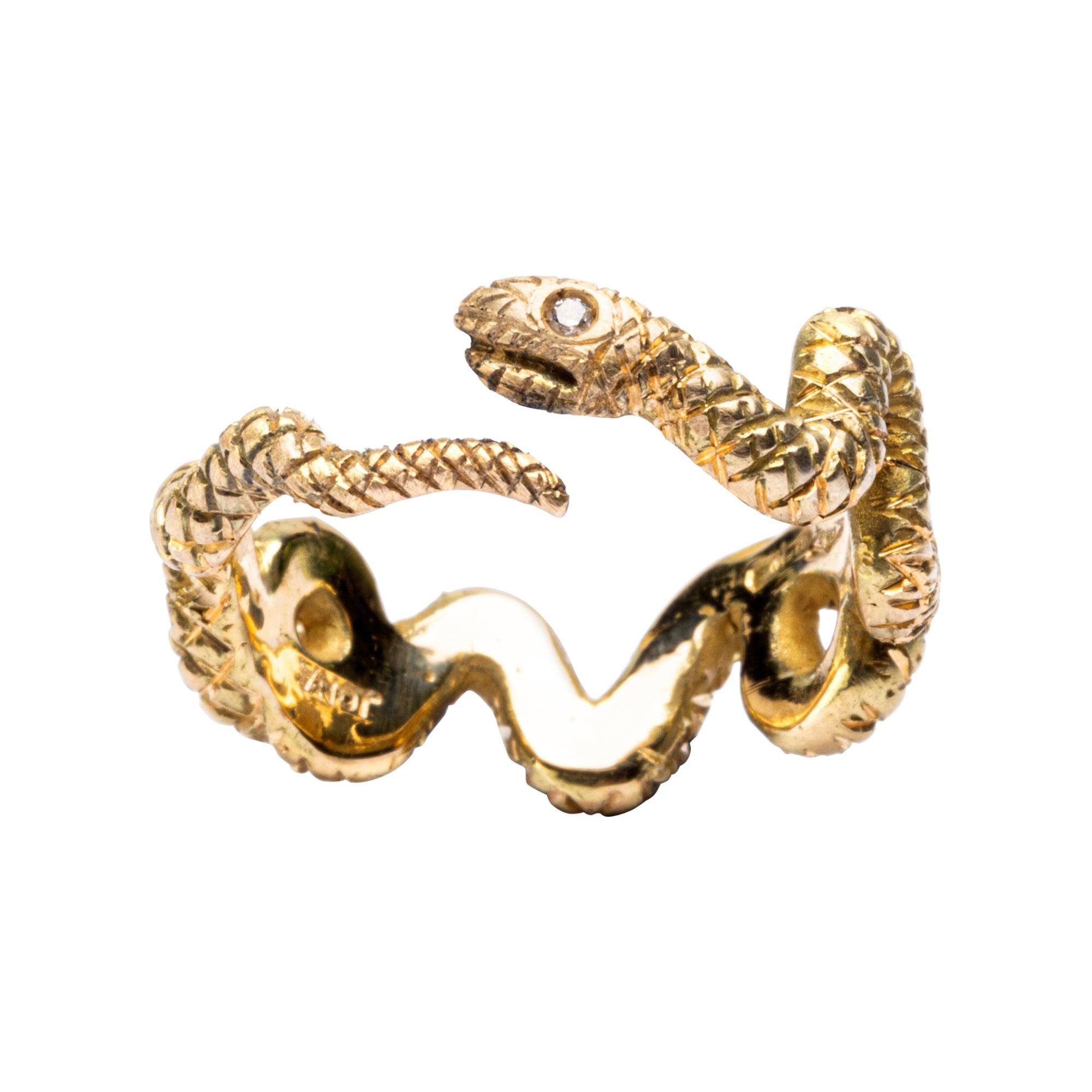 Alex Jona 18 Karat Yellow Gold Coil Snake Ring