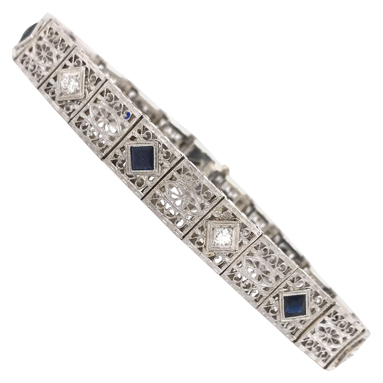 Art Deco Diamond & Sapphire Filigree Bracelet