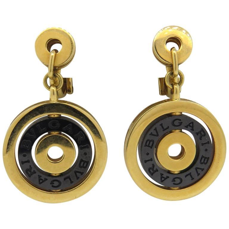 Bulgari Astrale Black Ceramic Gold Drop Earrings 1
