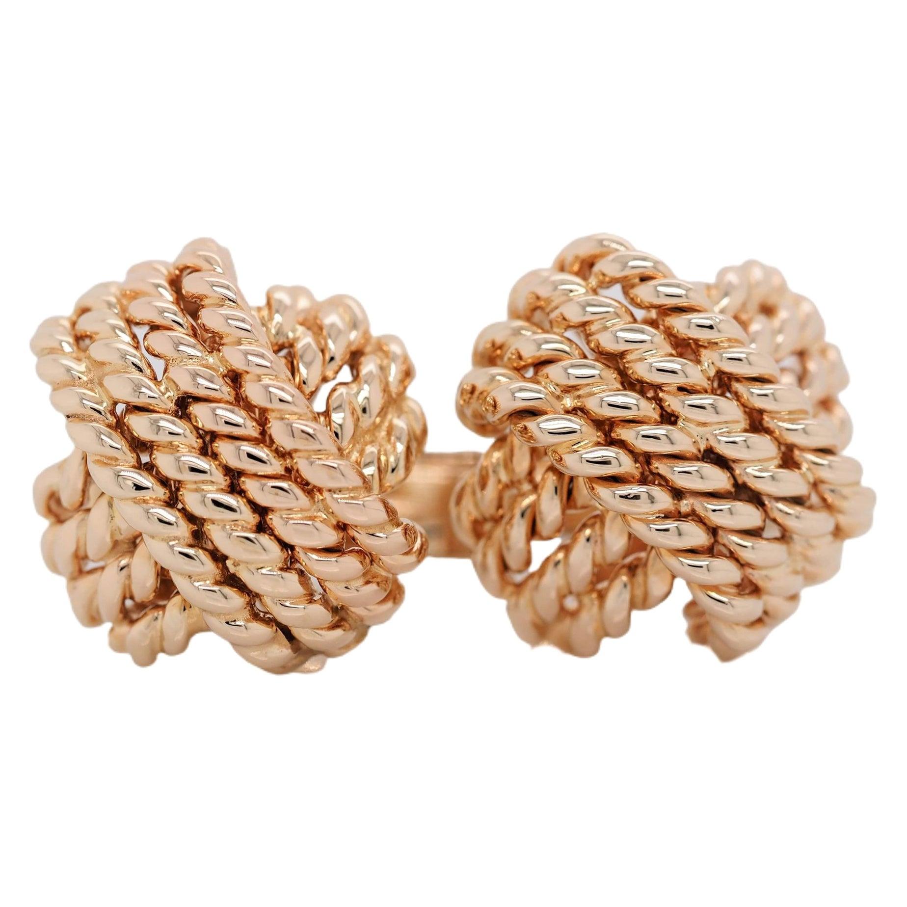 Verdura 14K Yellow Gold Rope Knot Cufflinks Rare