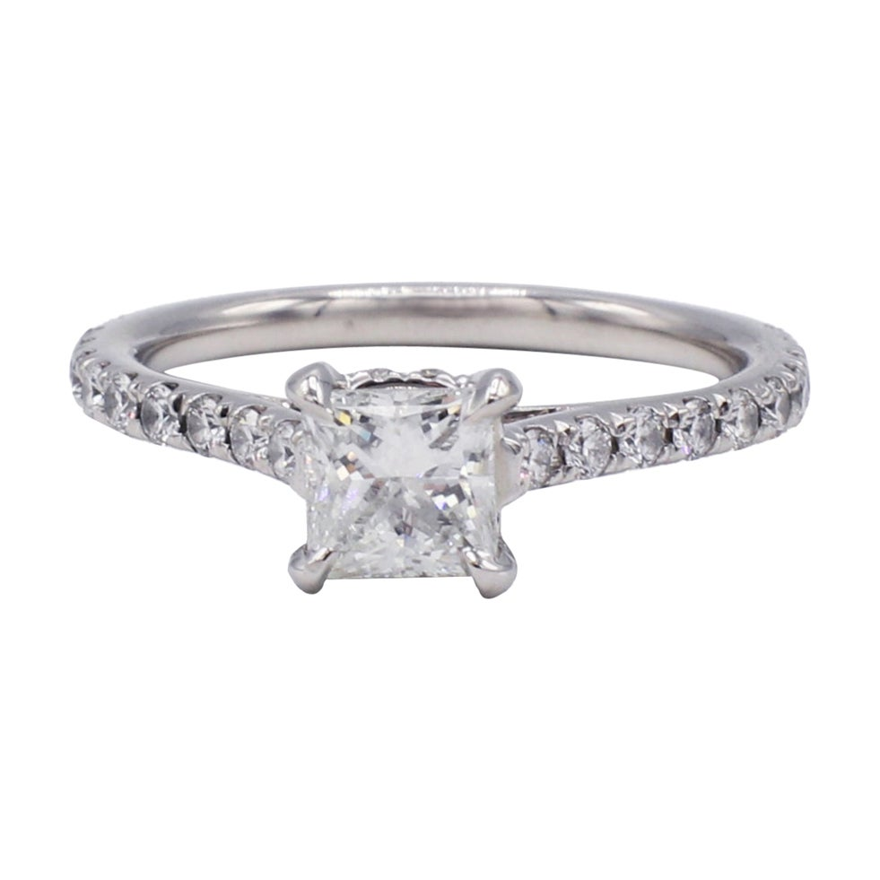 GIA Certified .81 Carat Princess Cut Diamond Platinum Engagement Ring