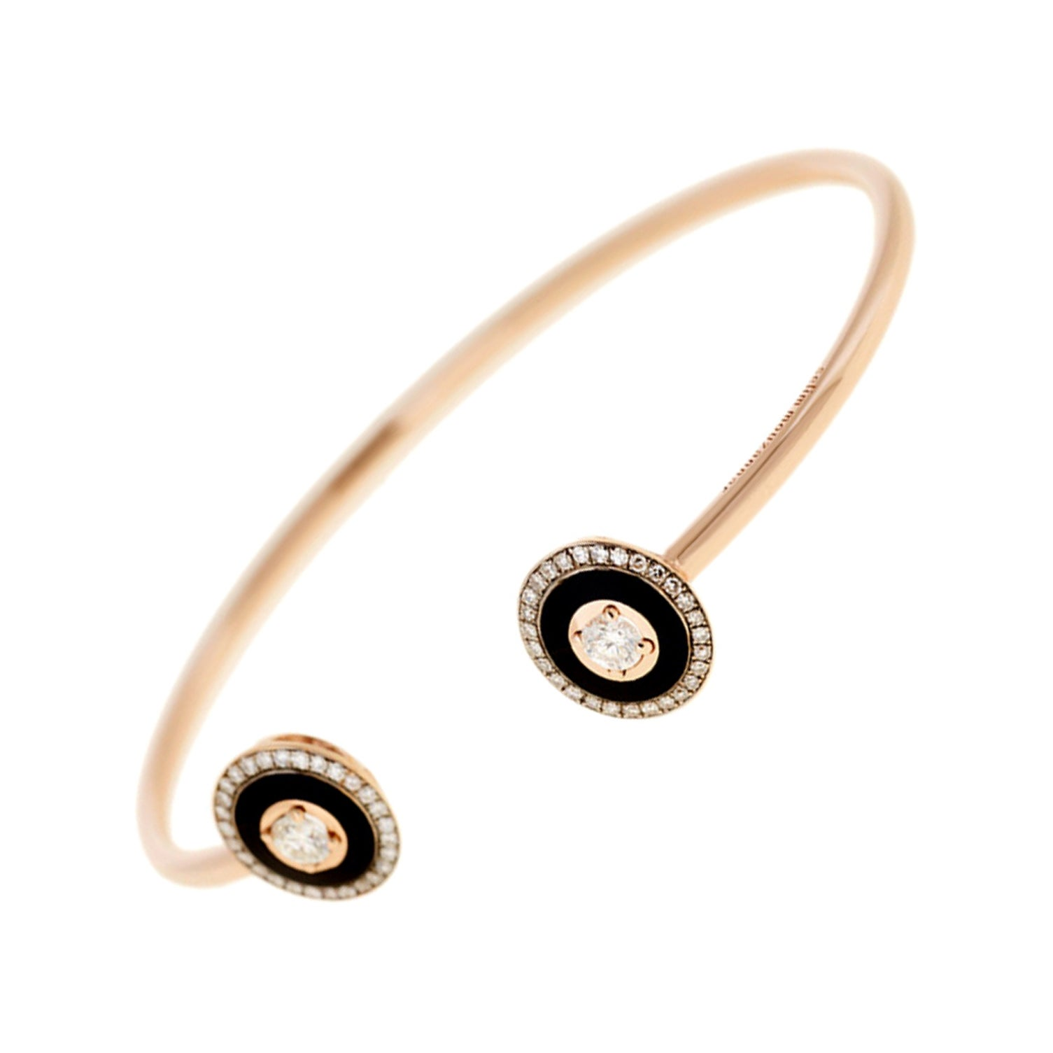 Mina Diamonds, Black Enamel and Rose Gold Bracelet