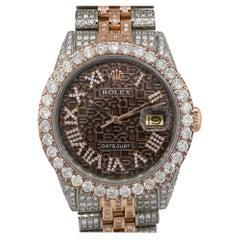 Rolex 1601 Datejust 18k Two Tone Chocolate All Diamond Watch