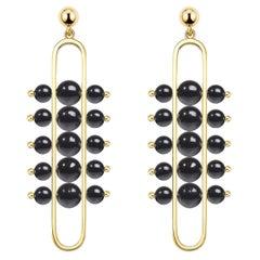 Impressionists Dangle Earrings 18 Karat Yellow Gold, Black Onyx