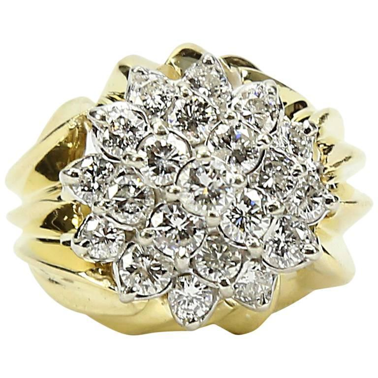 Coach House Diamond Two Color Gold Cluster Dome Ring