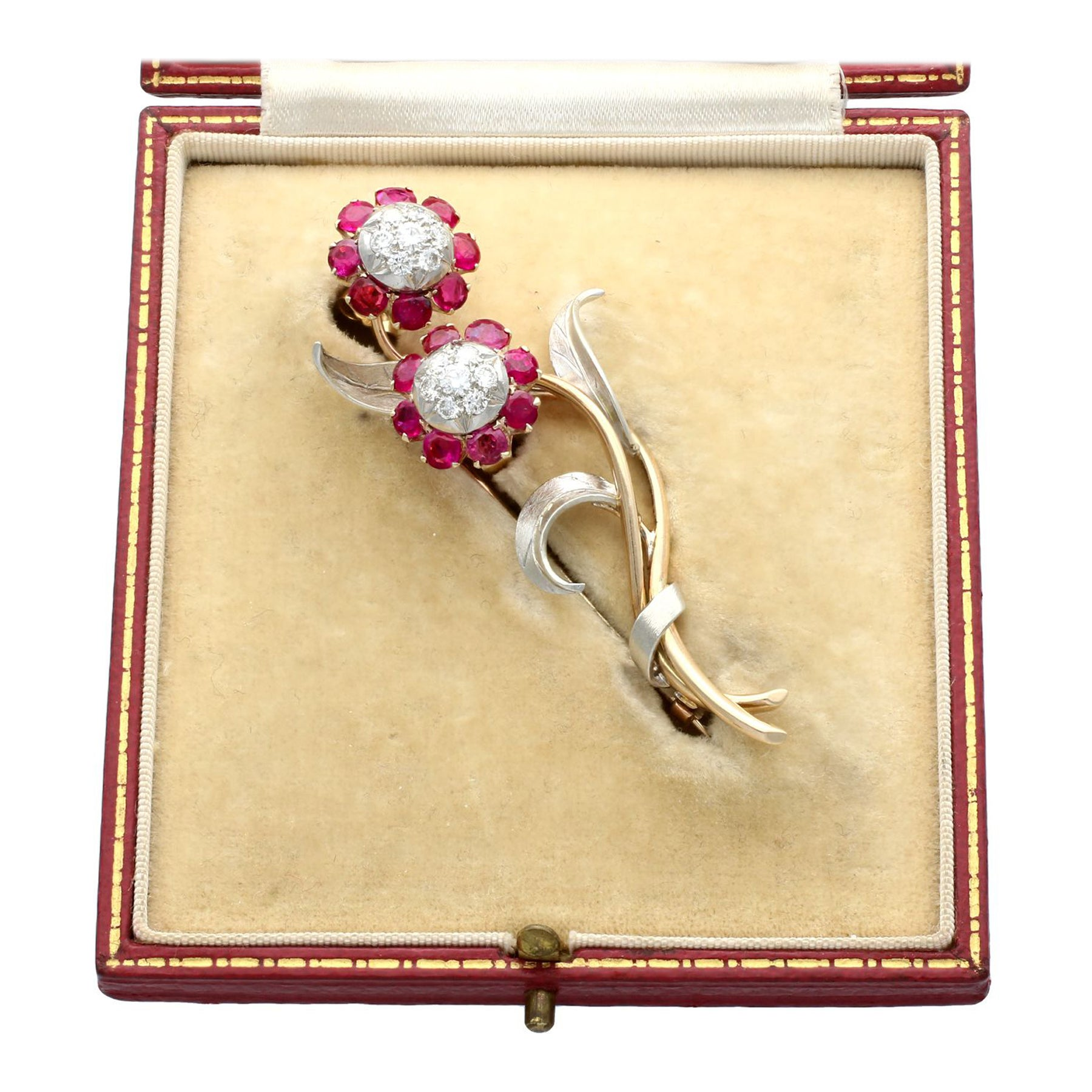 1930s 2.91Ct Ruby and Diamond Yellow Gold and Silver Set Brooch / Earring Set