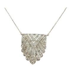 Art Deco Diamond and White Gold Necklace, Extra White Diamonds, Clarity SI1/SI1