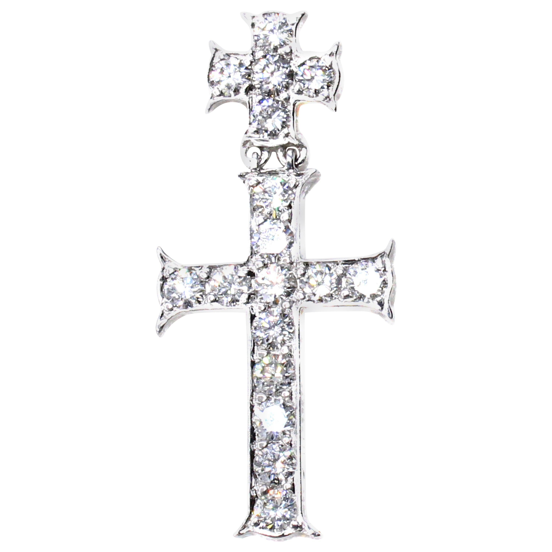 Dior Double Cross Diamond 18 Karat White Gold Lapel Pin-Pendant