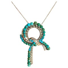 Turquoise and Diamond Necklace, Clarity VS1/VS2, Color F