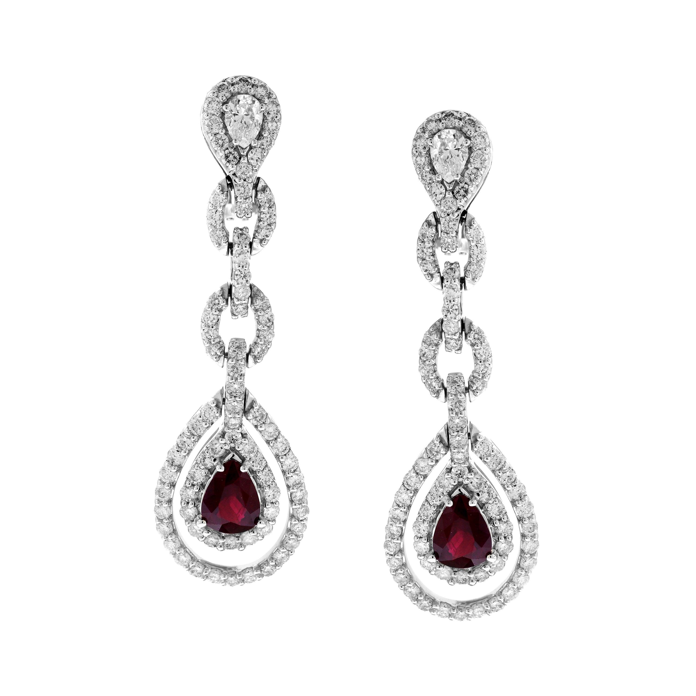 Pear Shape Ruby and Diamond 18 Karat White Gold Drop Dangle Earrings
