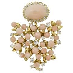 Julius Cohen Angel Skin Coral Diamond Gold Floral Brooch
