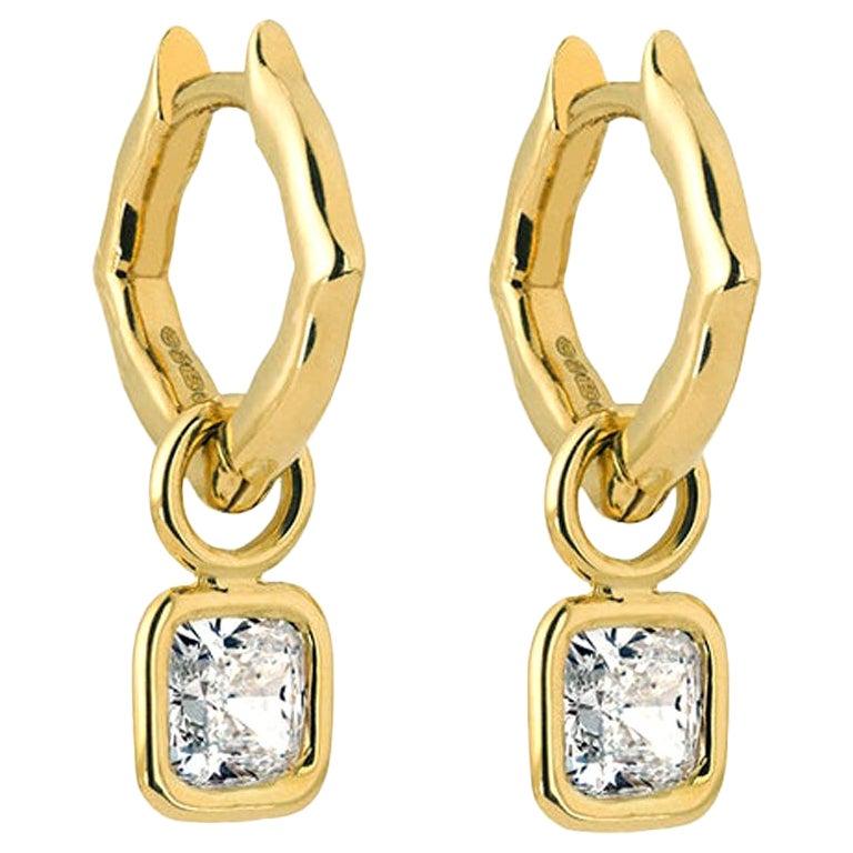 18 Karat Yellow Gold and Diamonds Mini Hoop Earrings