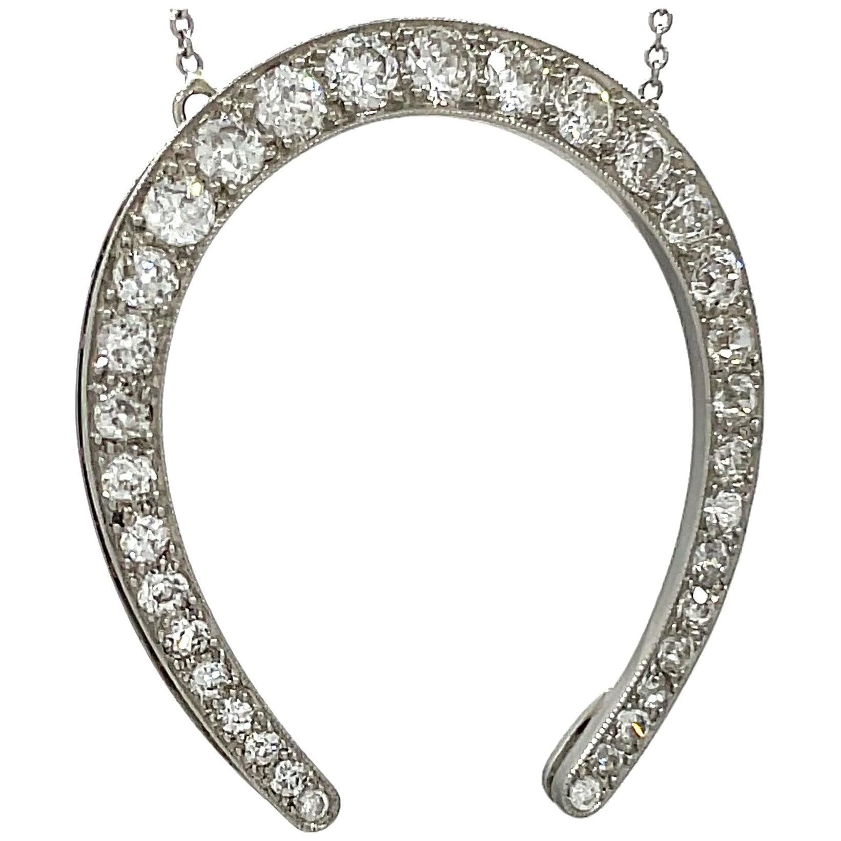 Art Deco Old European Cut Diamond Horse Shoe Platinum Necklace