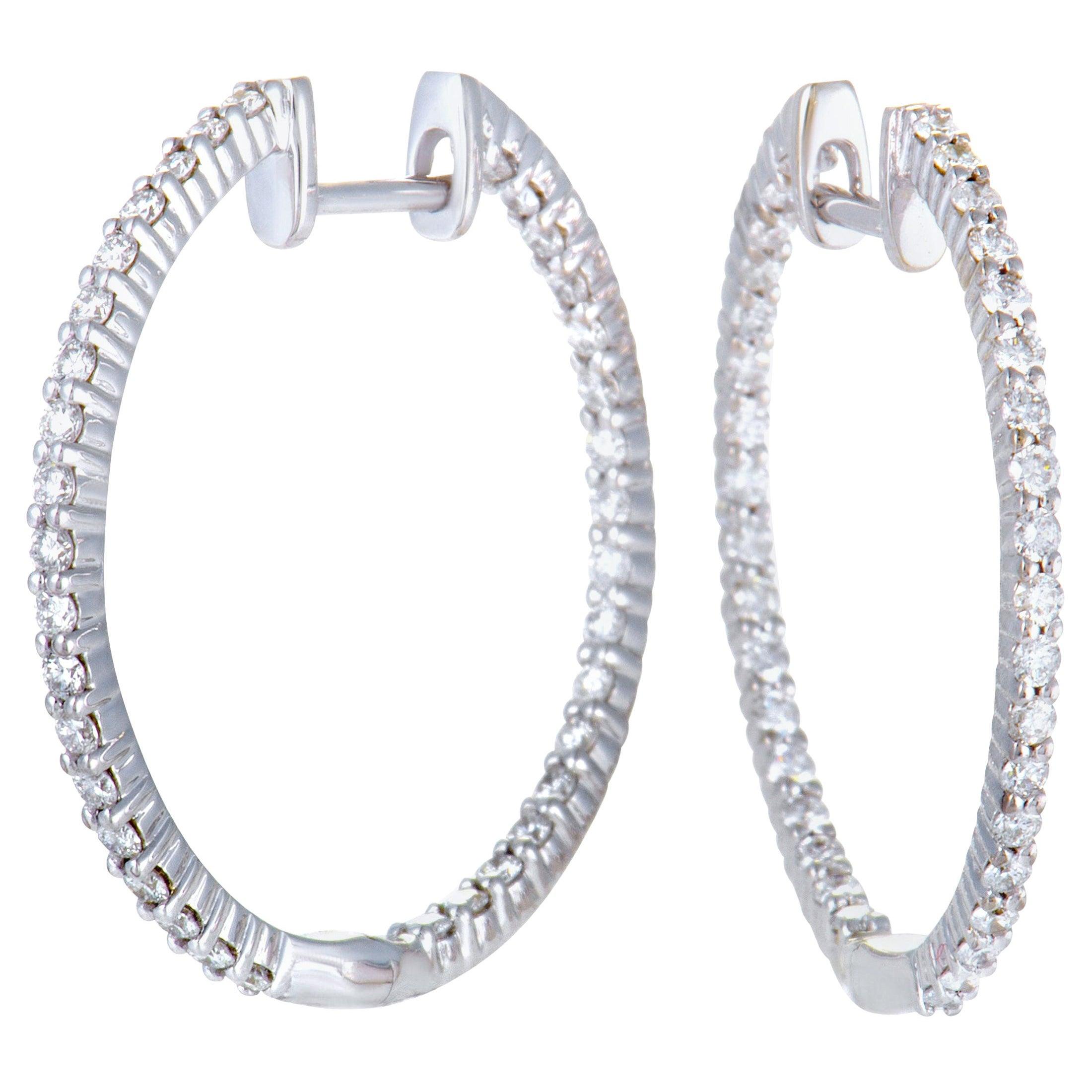 LB Exclusive White Gold 1.00 Carat VS1 G Color Diamond Pave Hoop Earrings