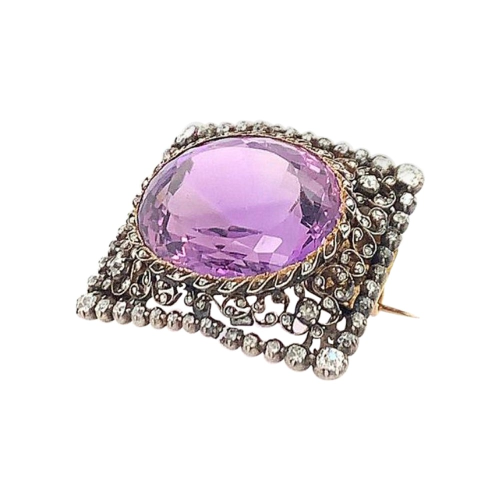 Antique Diamond Amethyst Pin