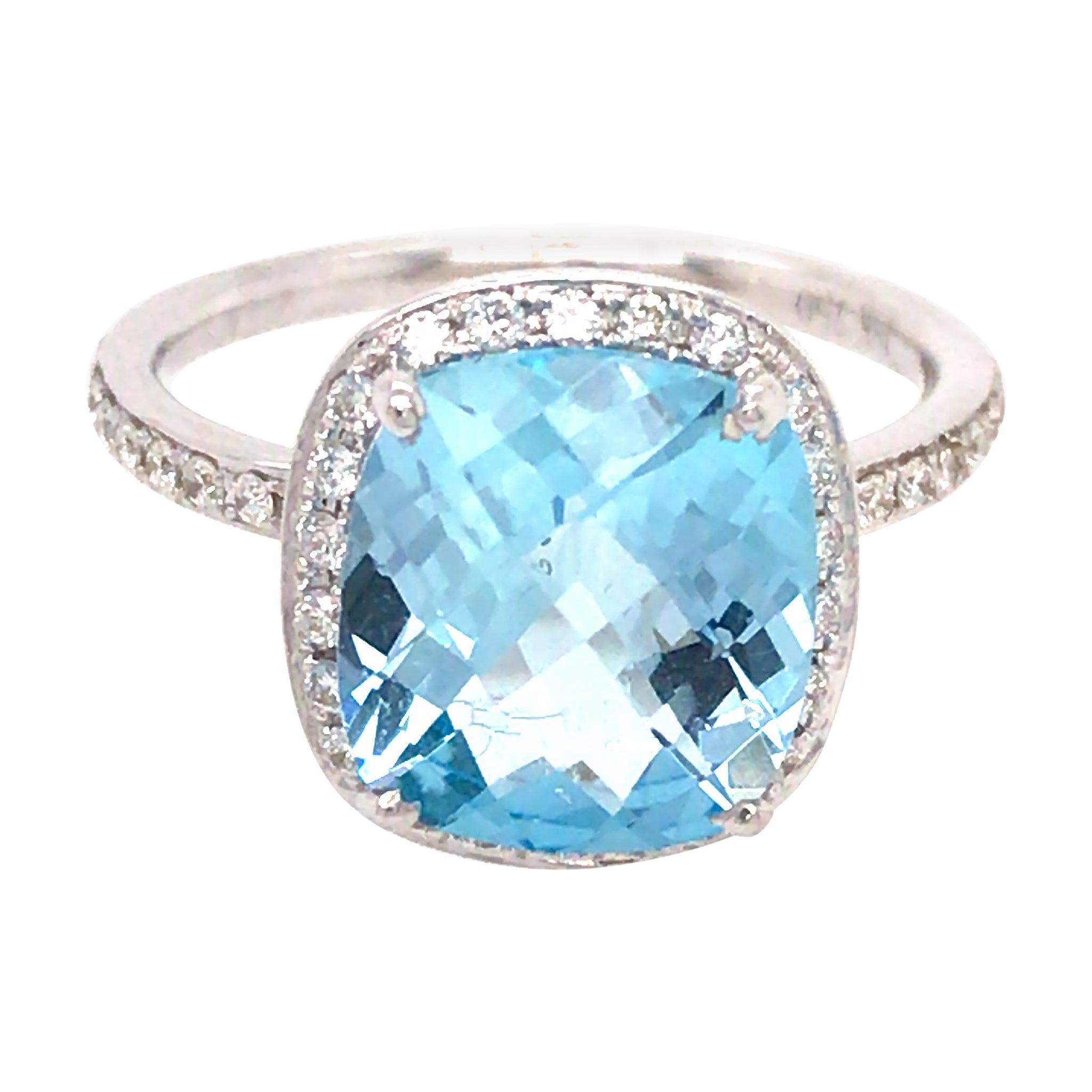 18k White Gold Topaz and Diamond Ring