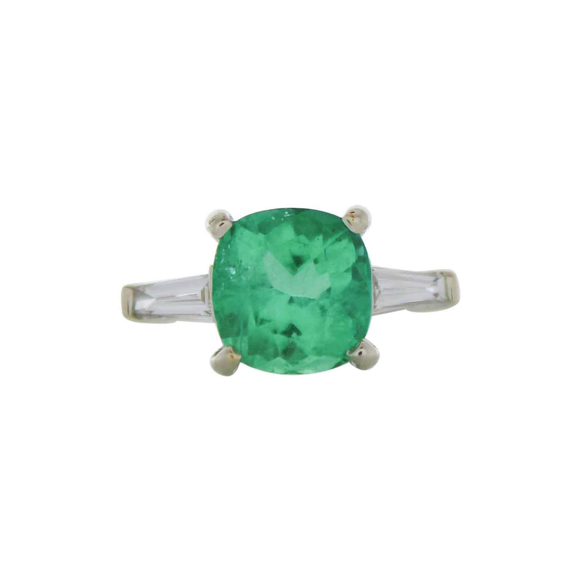2.76 Carat Cushion Cut Emerald & Diamond Cocktail Ring in 18 K White Gold