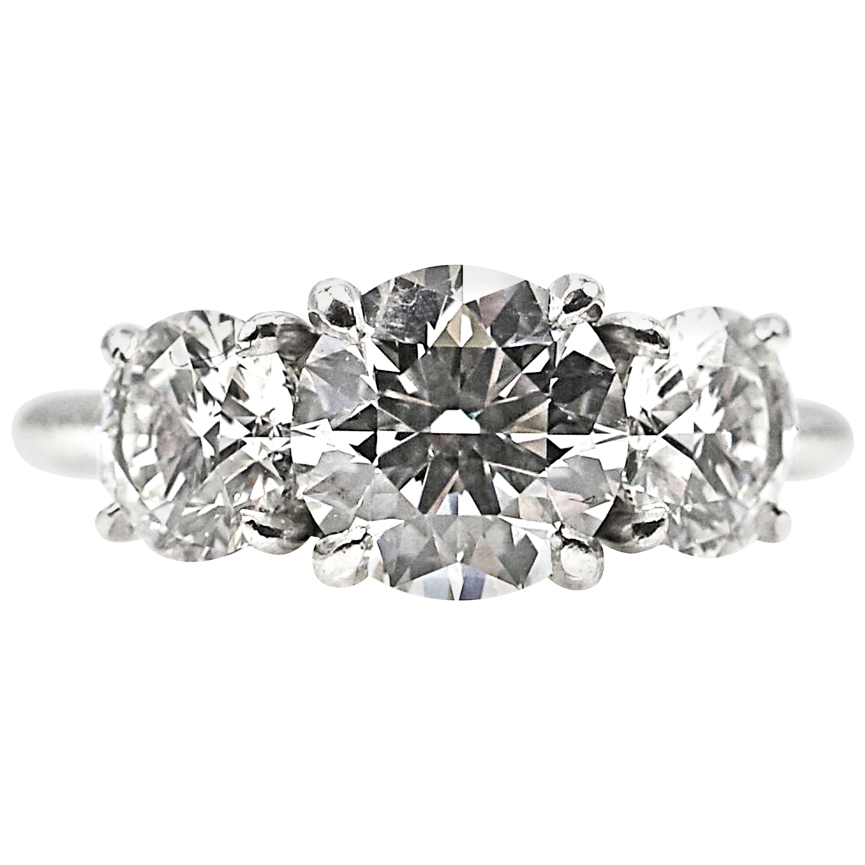 GIA Certified Three-Stone Diamond Platinum Engagement Ring