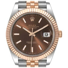 Rolex Datejust 41 Steel Everose Gold Chocolate Dial Watch 126331 Box Card