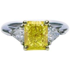 1.74 Carat GIA Cert Fancy Vivid Radiant Diamond Gold Ring