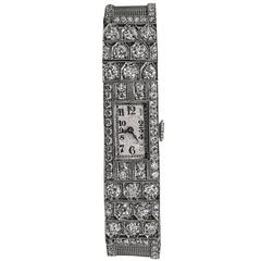Audemars Piguet lady's platinum diamond art Deco wristwatch