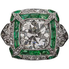 2.50 Carat Diamond and Emerald Ring