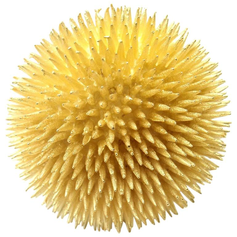 Tiffany & Co  Extra Large Sea Urchin Yellow Gold Brooch