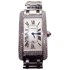 Cartier Lady's white gold Tank Americaine Automatic Wristwatch