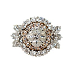 Round, Marquis & Princess Diamond Double Halo Ring 18 Karat White and Rose Gold