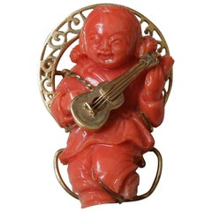 Orientalist Coral Carving Musical Mid-Century Pin
