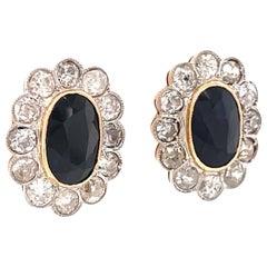 Antique Sapphire Diamond 18 Karat Gold Cluster Stud Earrings
