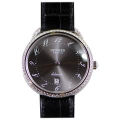 Hermes White Gold Diamond Arceau Automatic Wristwatch